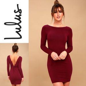 NWT LULU'S Wine Red Backless Bodycon Dress